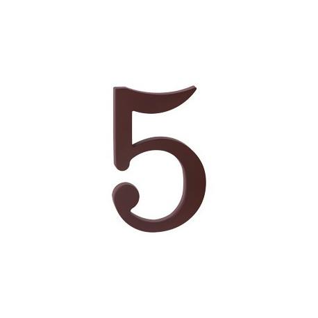 """domove číslo 175mm hnedé """"5"""""""